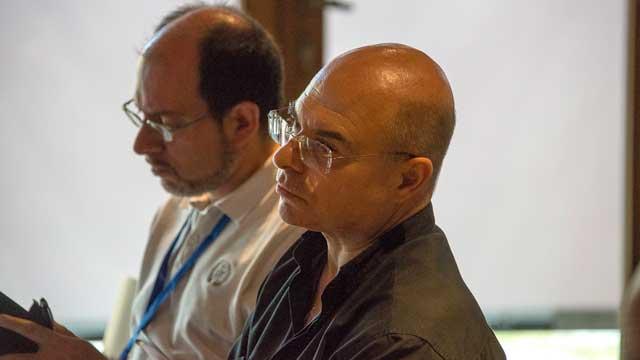 Padre Mario (priore della Comunità Monastica di Siloe) e Ernesto Diaco (membro del Comitato organizzatore del Festival)